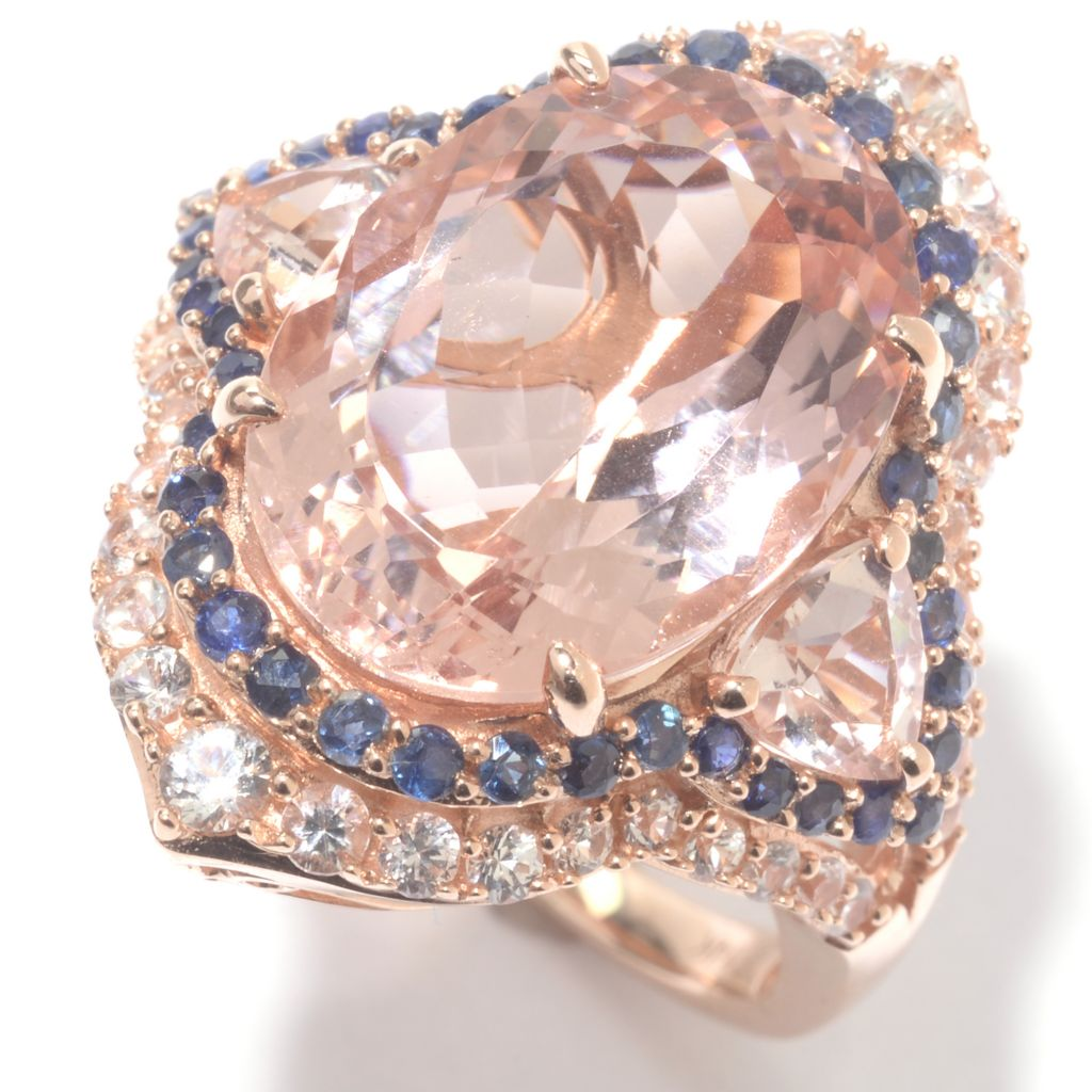 142-529 - Gem Treasures 14K Rose Gold 8.20ctw Oval Morganite & Multi Sapphire Ring