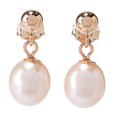 142-535 - 14K Gold  7x 7.5mm Freshwater Cultured Pearl Drop Earrings
