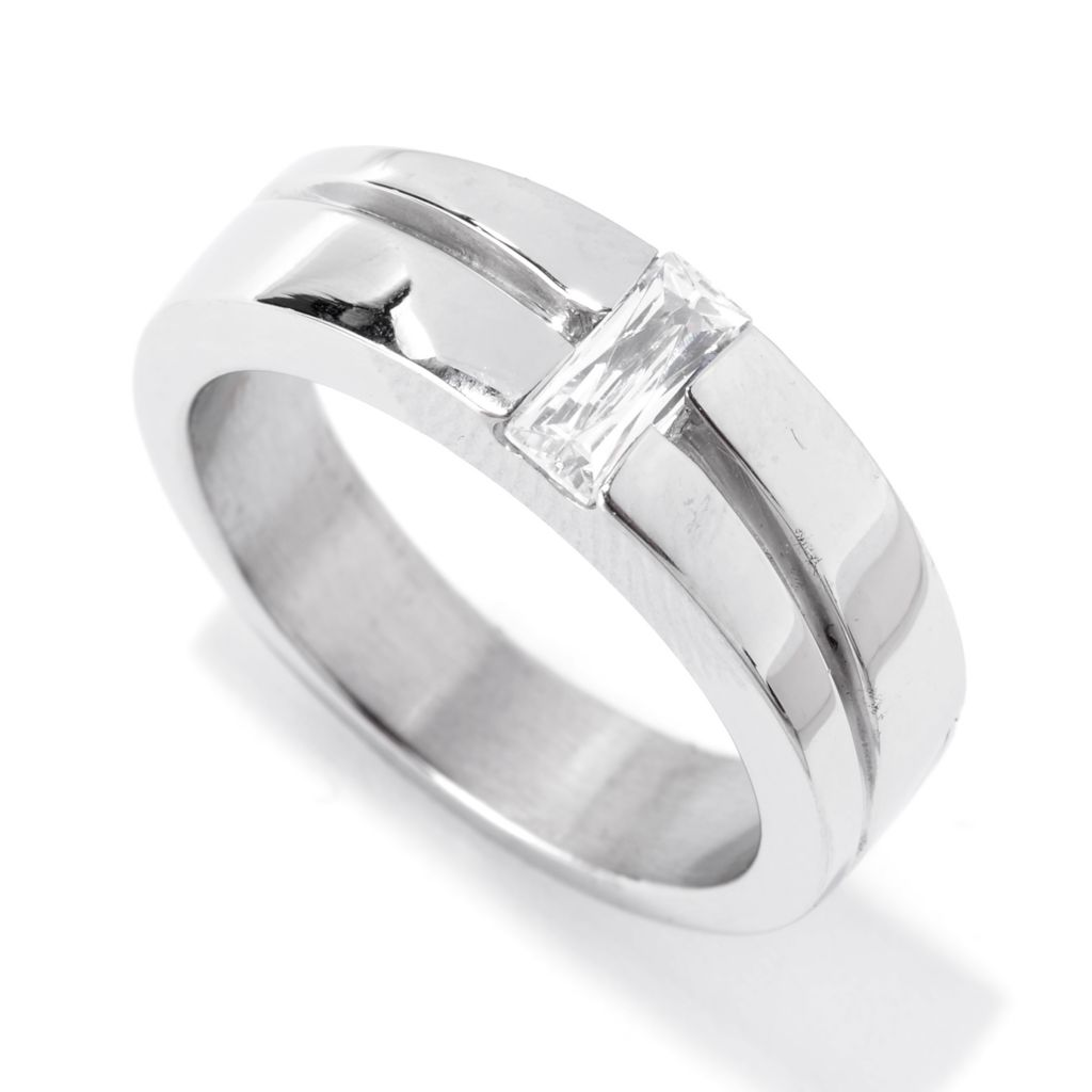 142-536 - TYCOON Men's Stainless Steel 7 x 3mm TYCOON CUT Simulated Gemstone Solitaire Ring