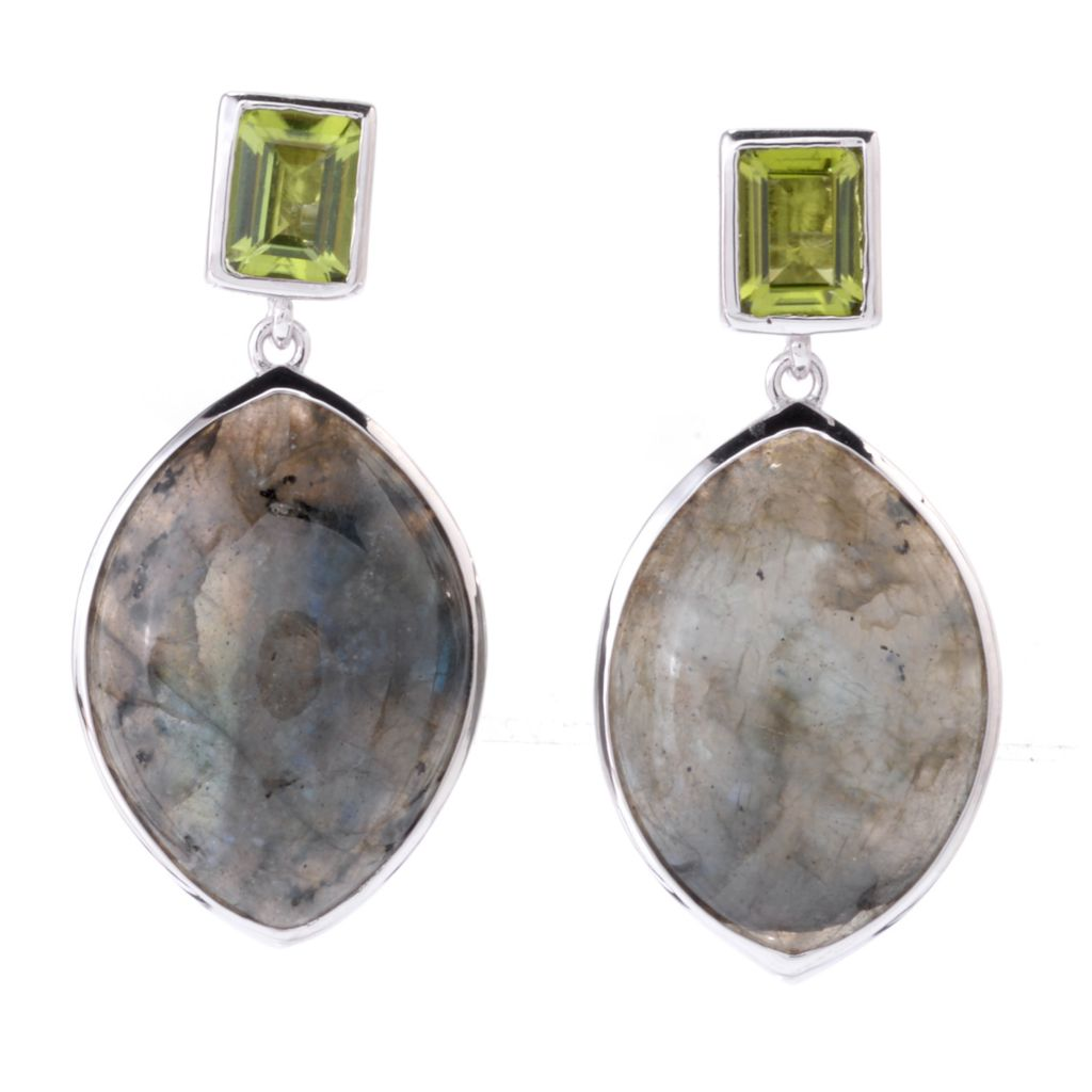 "142-537 - Gem Insider Sterling Silver 1.5"" 25 x 17mm Labradorite & Peridot Earrings"