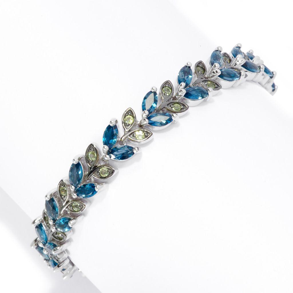 142-542 - Gem Insider Sterling Silver 6.44ctw Peridot & London Blue Topaz Line Bracelet
