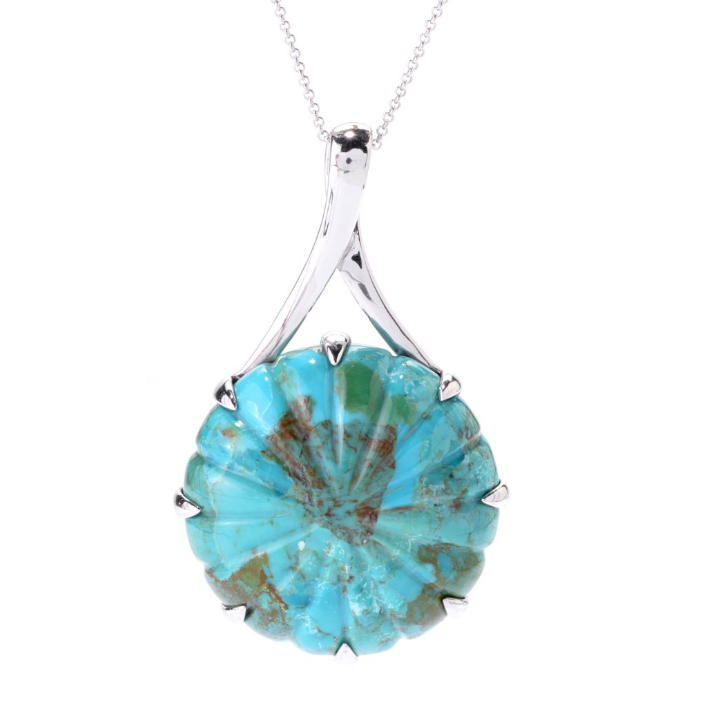 142-545 - Gem Insider Sterling Silver 40mm Round Turquoise Circle Pendant w/ Chain