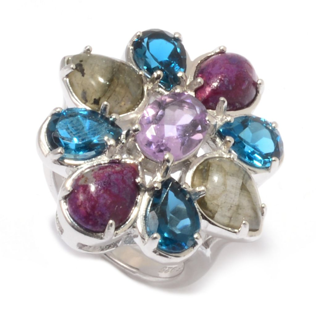 142-548 - Gem Insider Sterling Silver Brazilian Amethyst & Multi Gemstone Flower Ring