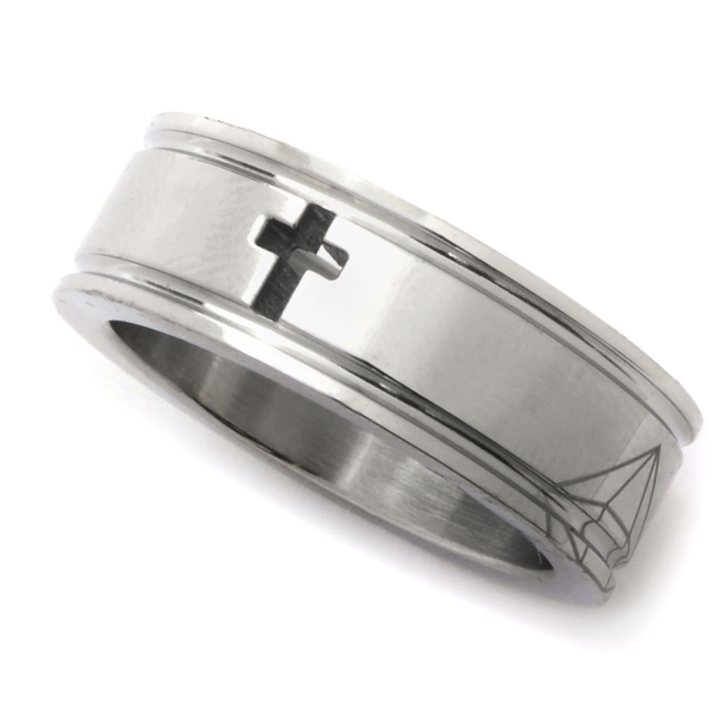 142-549 - TYCOON Men's Stainless Steel Polished & Matte Cut-out Cross Band Ring