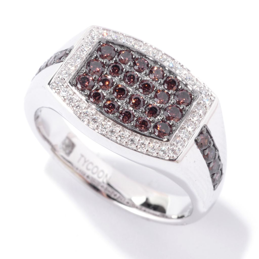 142-559 - TYCOON Men's Platinum Embraced™ Whiskey & White Simulated Diamond Rectangle Ring