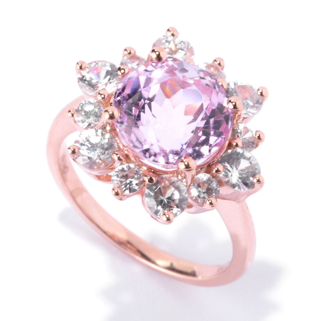 142-561 - Gem Treasures 14K Rose Gold 6.78ctw Kunzite & White Zircon Flower Ring