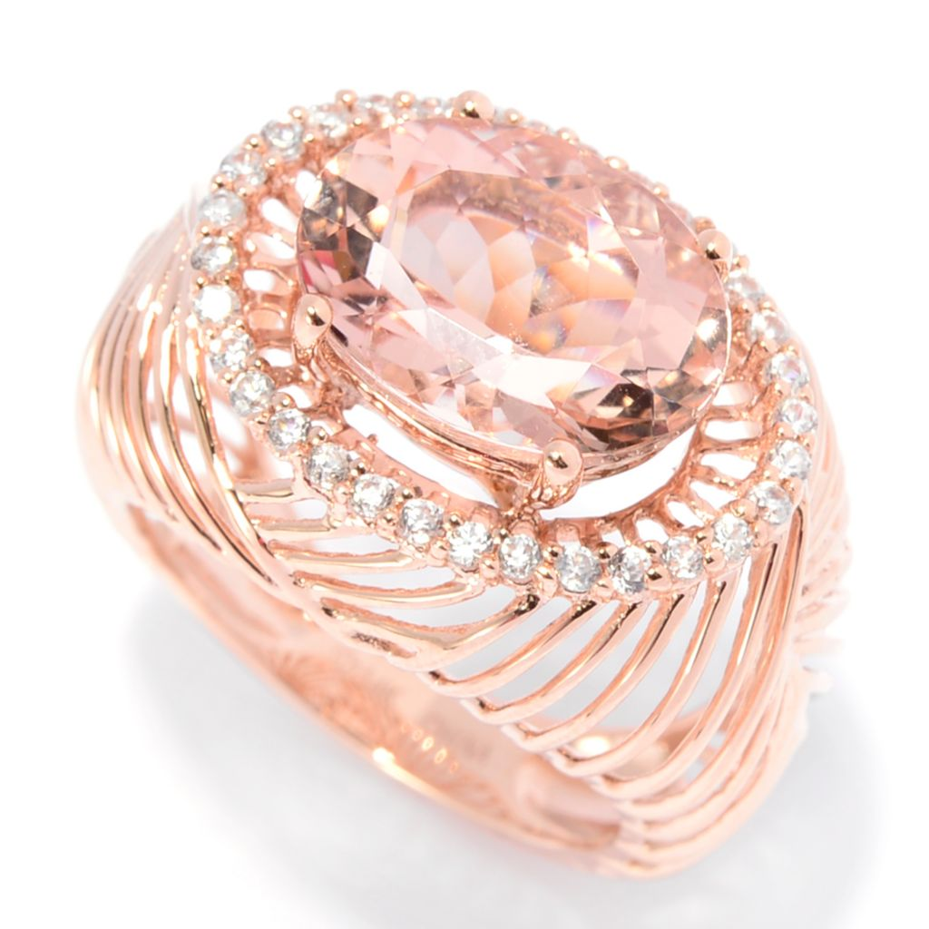 142-562 - Gem Treasures 14K Rose Gold 5.31ctw Morganite & White Zircon East-West Ring