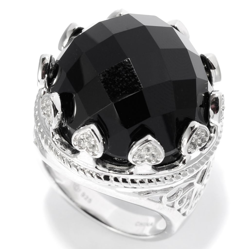 142-563 - Gem Treasures Sterling Silver 19mm Black Agate & White Zircon Crown Ring