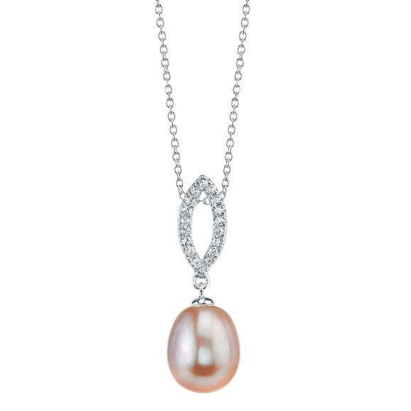 "142-572 - Radiance Pearl Sterling Silver 7mm Pink Freshwater Cultured Pearl Pendant w/ 17"" Chain"