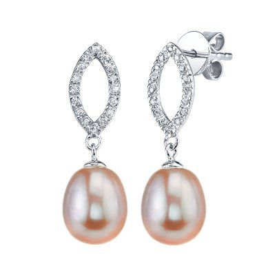 142-574 - Radiance Pearl Sterling Silver 7mm Drop Shaped Pink Freshwater Cultured Pearl Earrings