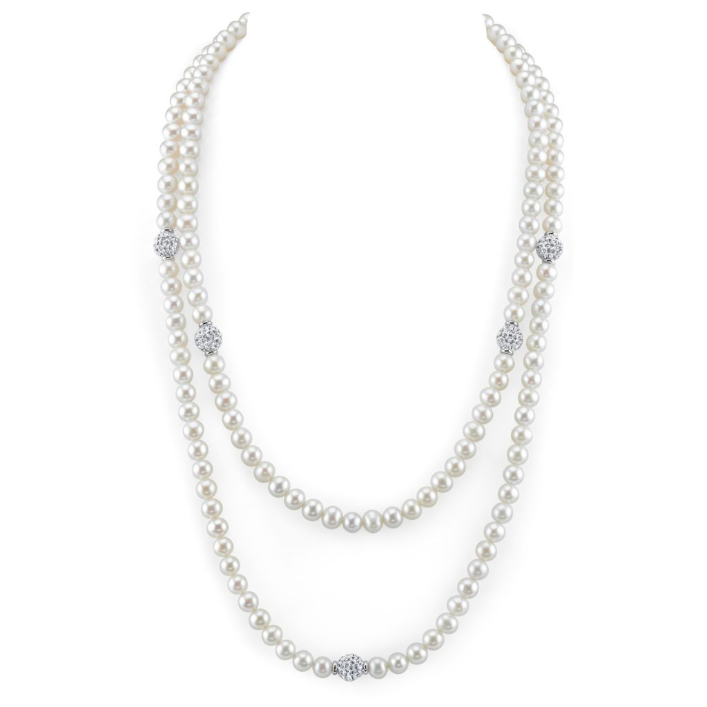 "142-577 - Radiance Pearl 36"" Sterling Silver 6mm White Freshwater Cultured Pearl & Simulated Diamond Necklace"