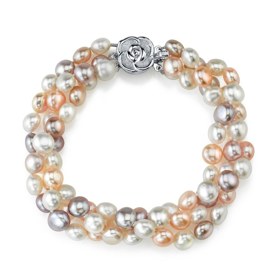 142-580 - Radiance Pearl Sterling Silver 4mm Multi Colored Freshwater Cultured Pearl Bracelet