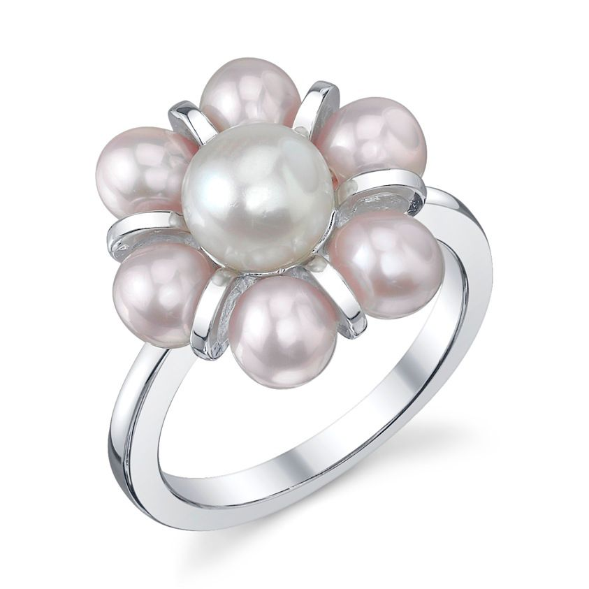 142-582 - Radiance Pearl Sterling Silver Multi Colored Freshwater Cultured Pearl Ring