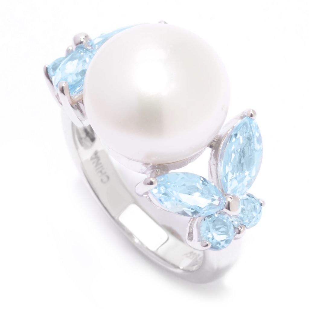 142-585 - Sterling Silver 11-12mm Freshwater Cultured Pearl & Gemstone Ring