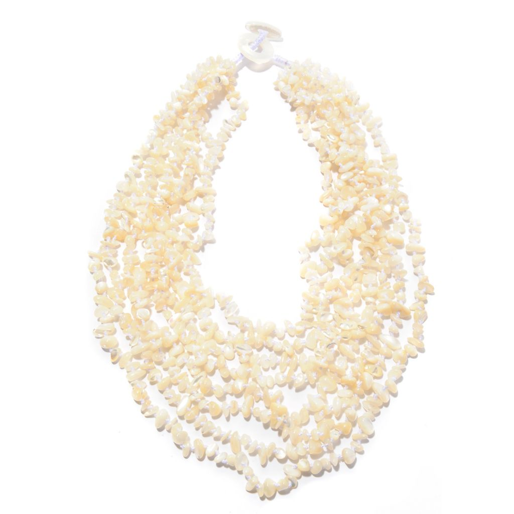 "142-587 - 18"" 3-6mm & 20mm Mother-of-Pearl Multi Strand Toggle Necklace"