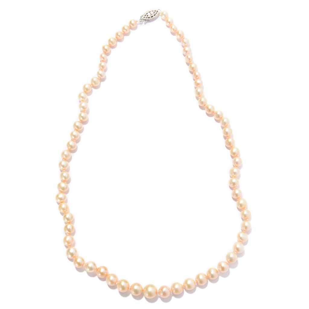 "142-588 - Sterling Silver 18"" 4-8mm Peach Freshwater Cultured Pearl Necklace"