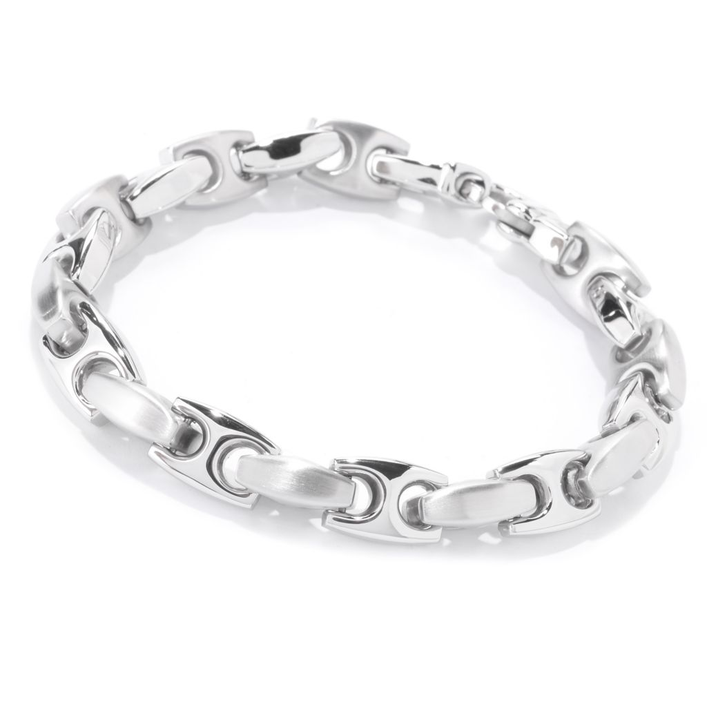 142-591 - TYCOON Men's Stainless Steel Satin Finished & Polished Anchor Link Bracelet