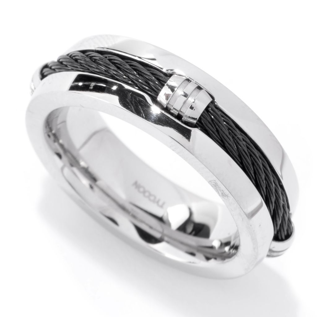 142-594 - TYCOON Men's Stainless Steel Rope Wire Detail Band Ring