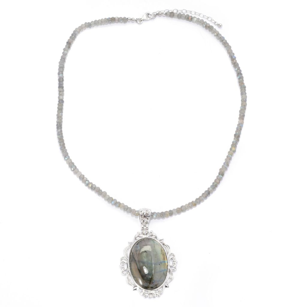 142-596 - Gem Insider Sterling Silver 34 x 24mm Oval Labradorite Pendant w/ Beaded Chain