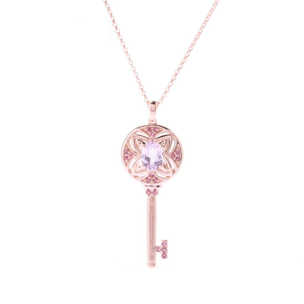 "142-600 - NYC II 1.50ctw Oval Kunzite & Pink Tourmaline Key Pendant w/ 18"" Chain"