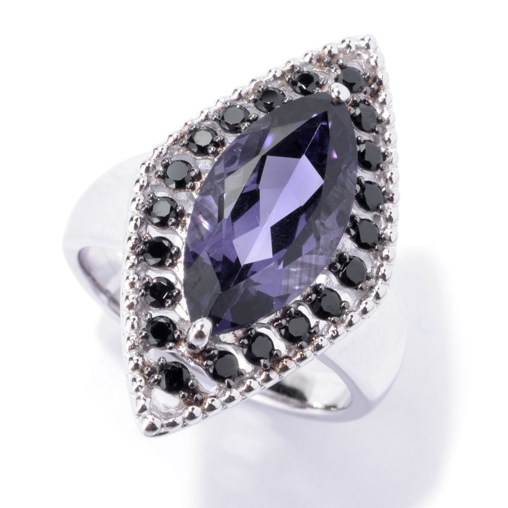 142-605 - NYC II 3.50ctw Marquise Shaped Blue Amethyst & Black Spinel Ring