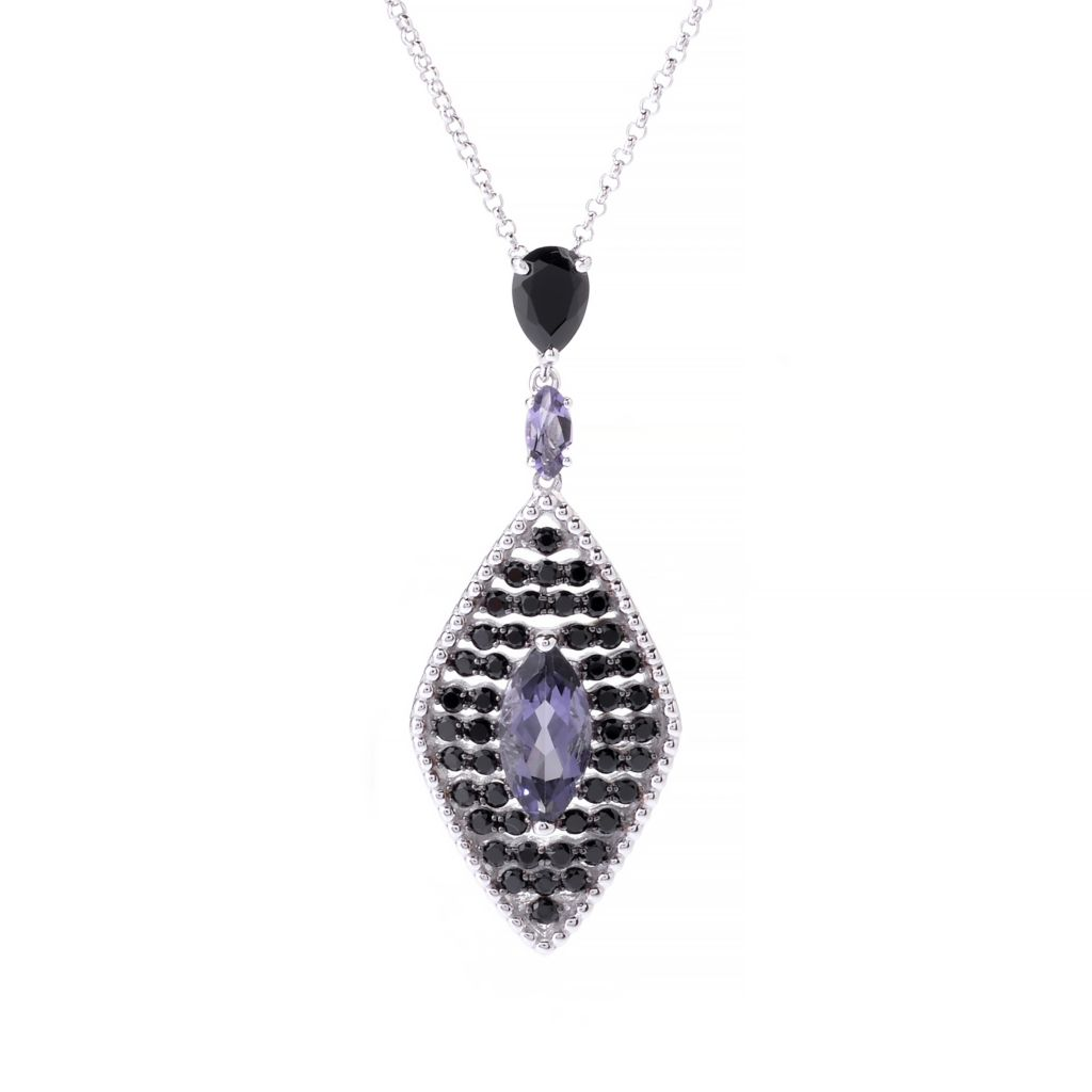 142-606 - NYC II 3.30ctw Marquise Shaped Blue Amethyst & Black Spinel Pendant w/ Chain