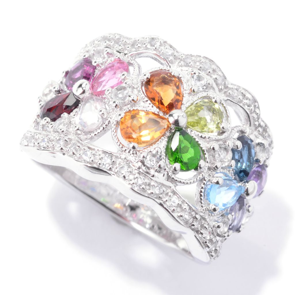 142-607 - NYC II 2.00ctw Multi Exotic Gemstone Flower Band Ring