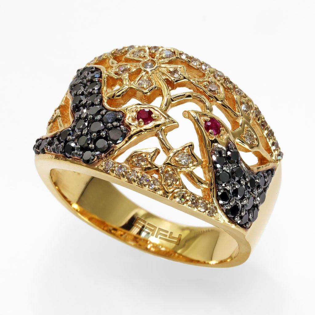 142-614 - Effy 14K Gold 0.74ctw Diamond & Ruby Blackbird Ring - Size 7