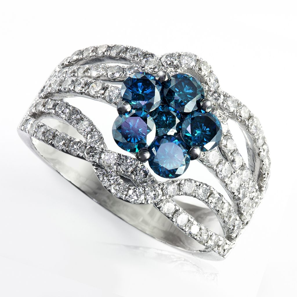 142-615 - Effy 14K White Gold 1.98ctw Blue & White Diamond Ring - Size 7