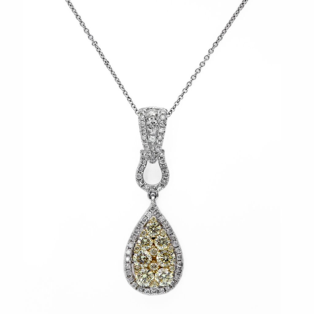 "142-617 - Effy 14K Two-tone Gold 1.19ctw White & Fancy Color Diamond Teardrop Pendant w/ 18"" Chain"