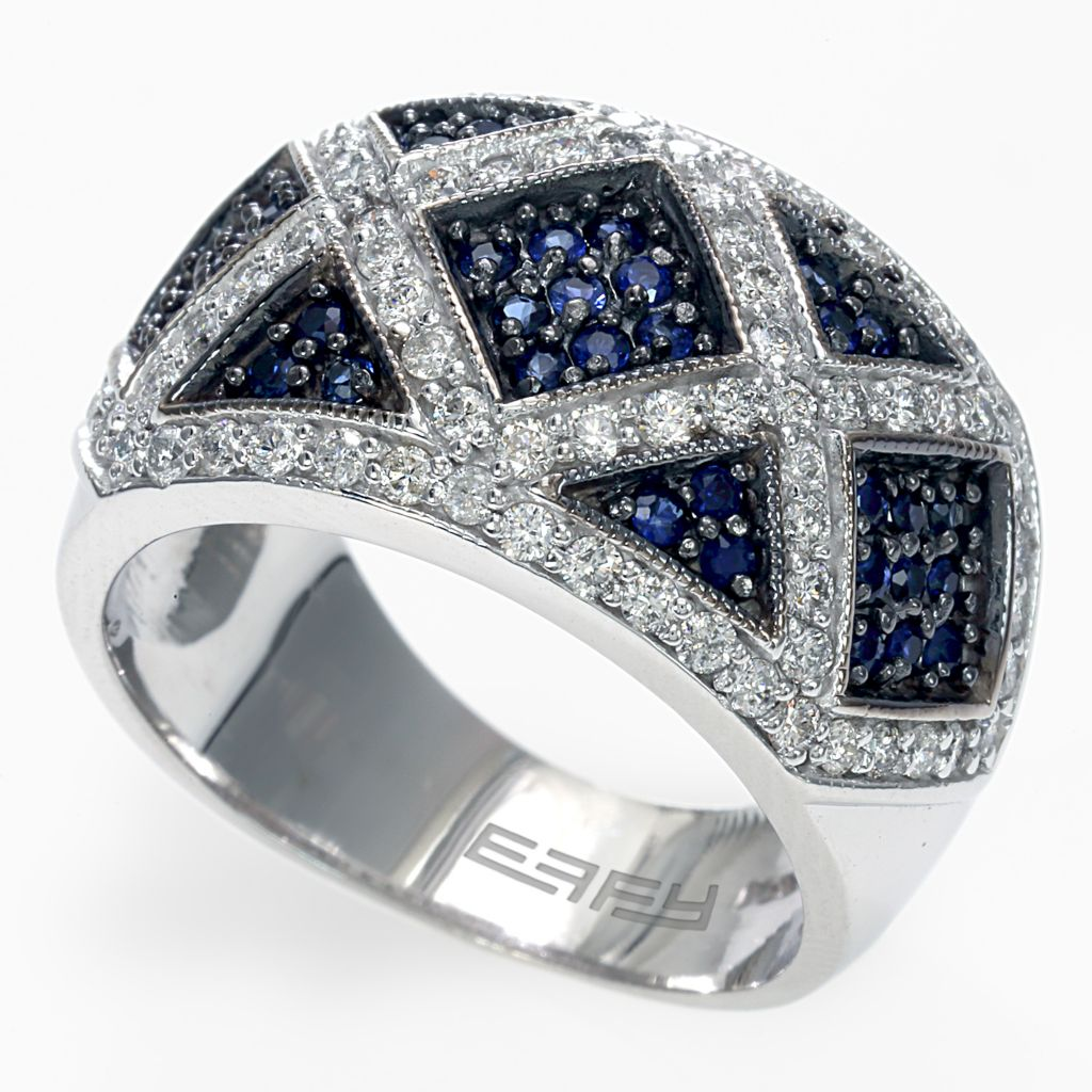 142-618 - Effy 14K White Gold 1.21ctw Diamond & Sapphire Wide Band Ring - Size 7