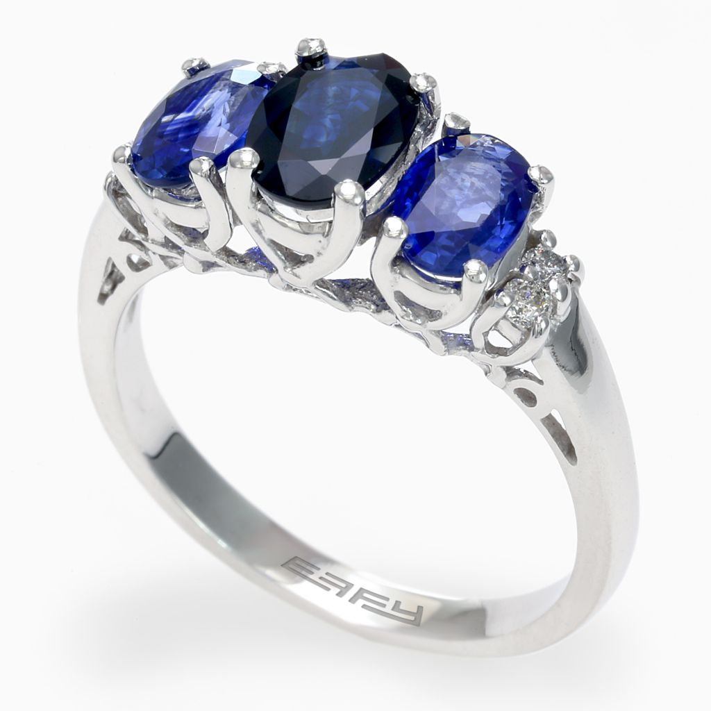 142-619 - Effy 14K White Gold 2.28ctw Diamond & Ceylon Sapphire Three-Stone Ring - Size 7
