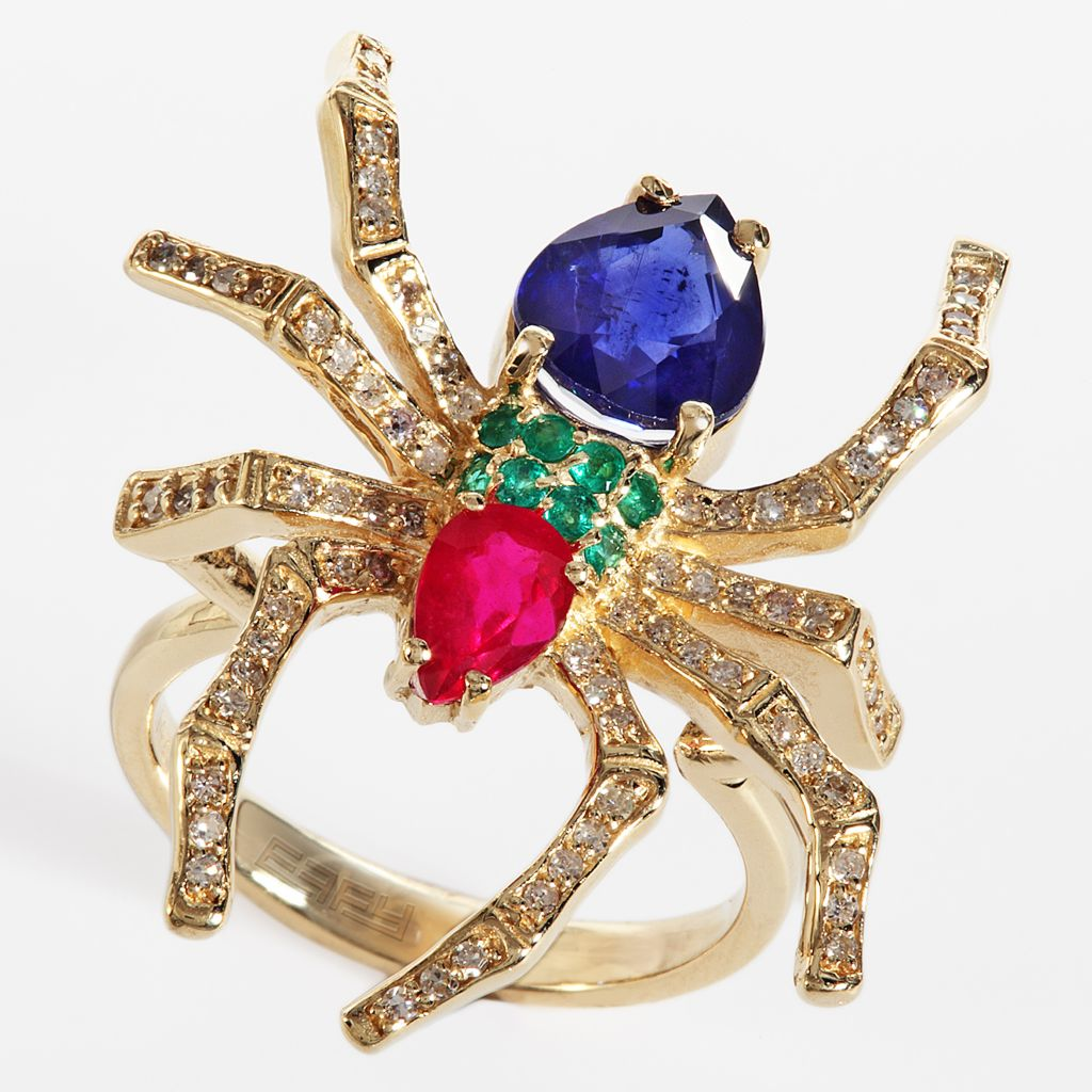 142-621 - Effy 14K Gold 3.71ctw Diamond & Multi Gemstone Spider Ring - Size 7