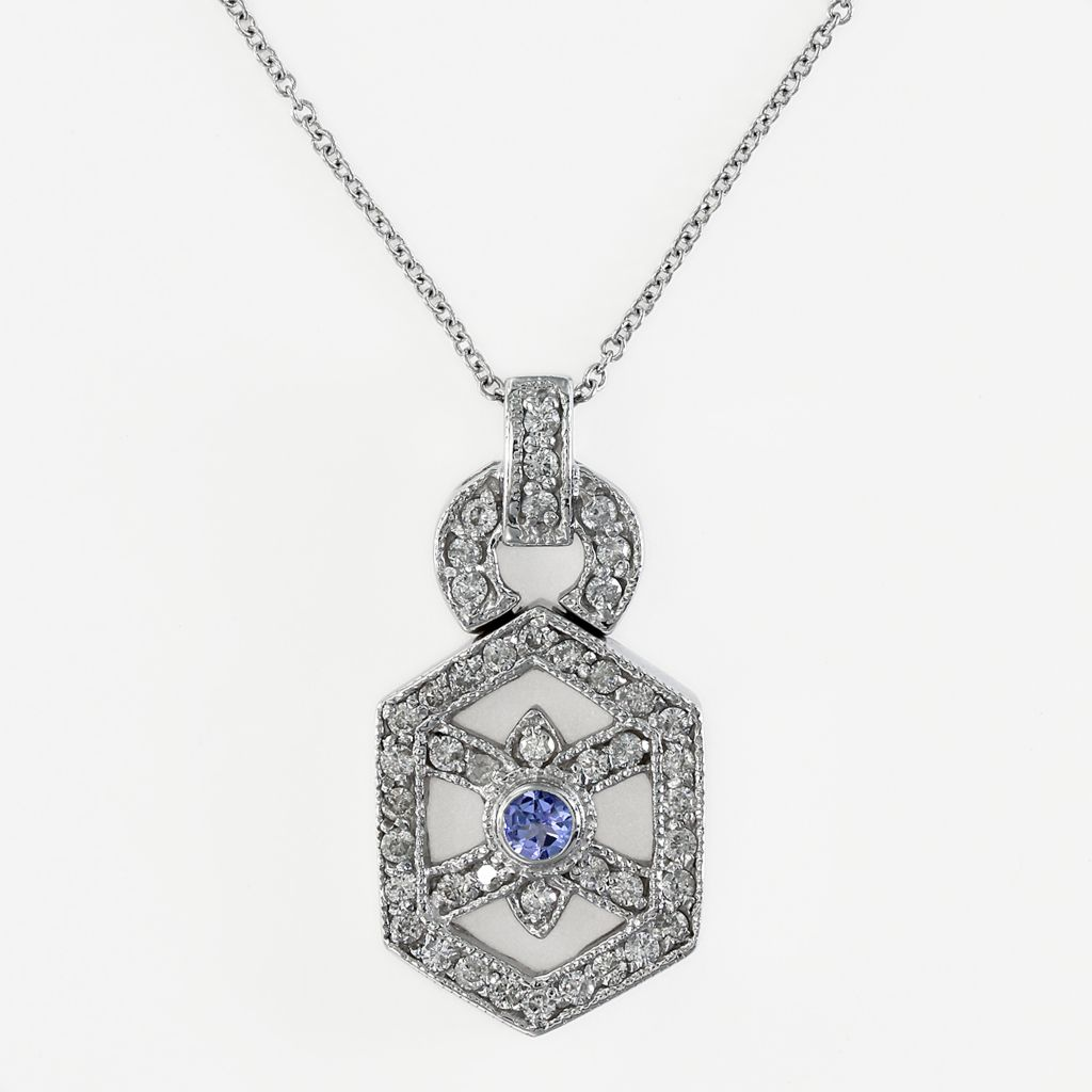 "142-623 - Effy 14K White Gold 0.57ctw Diamond & Tanzanite Pendant w/ 18"" Chain"