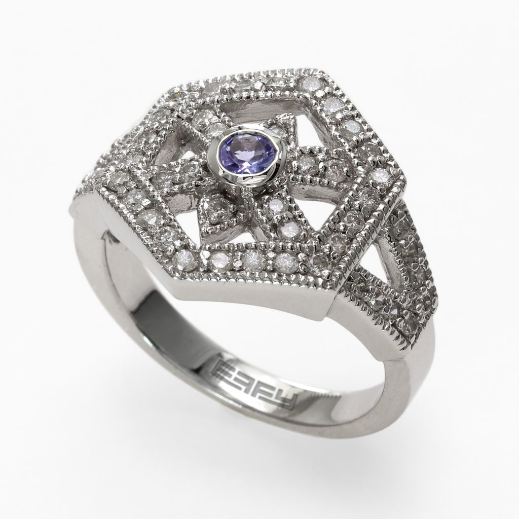 142-624 - Effy 14K White Gold 0.62ctw Diamond & Tanzanite Ring - Size 7