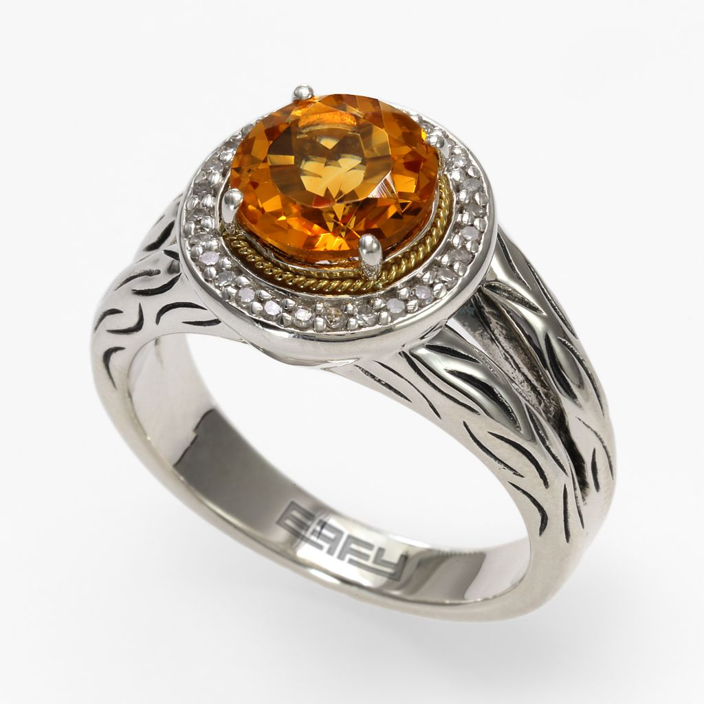142-625 - Balissima By Effy Sterling Silver 1.89ctw Diamond & Citrine Halo Ring - Size 7