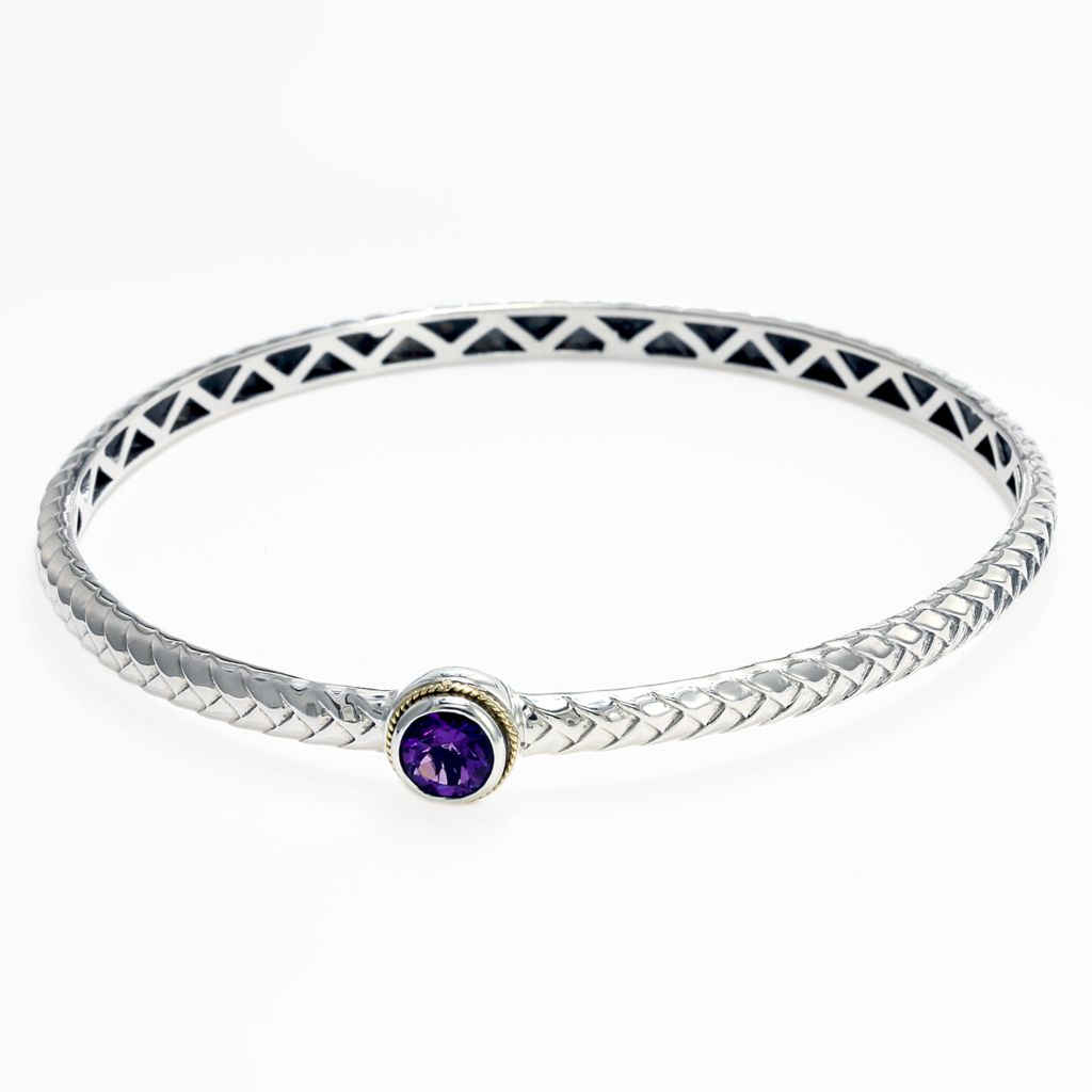 "142-626 - Balissima By Effy Sterling Silver 8.5"" Gemstone Accent Bangle Bracelet"
