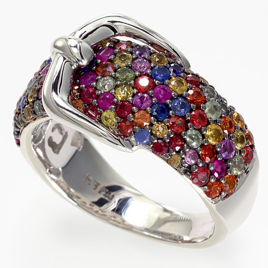 142-628 - Balissima By Effy Sterling Silver 2.63ctw Multi Colored Sapphire Buckle Ring - Size 7