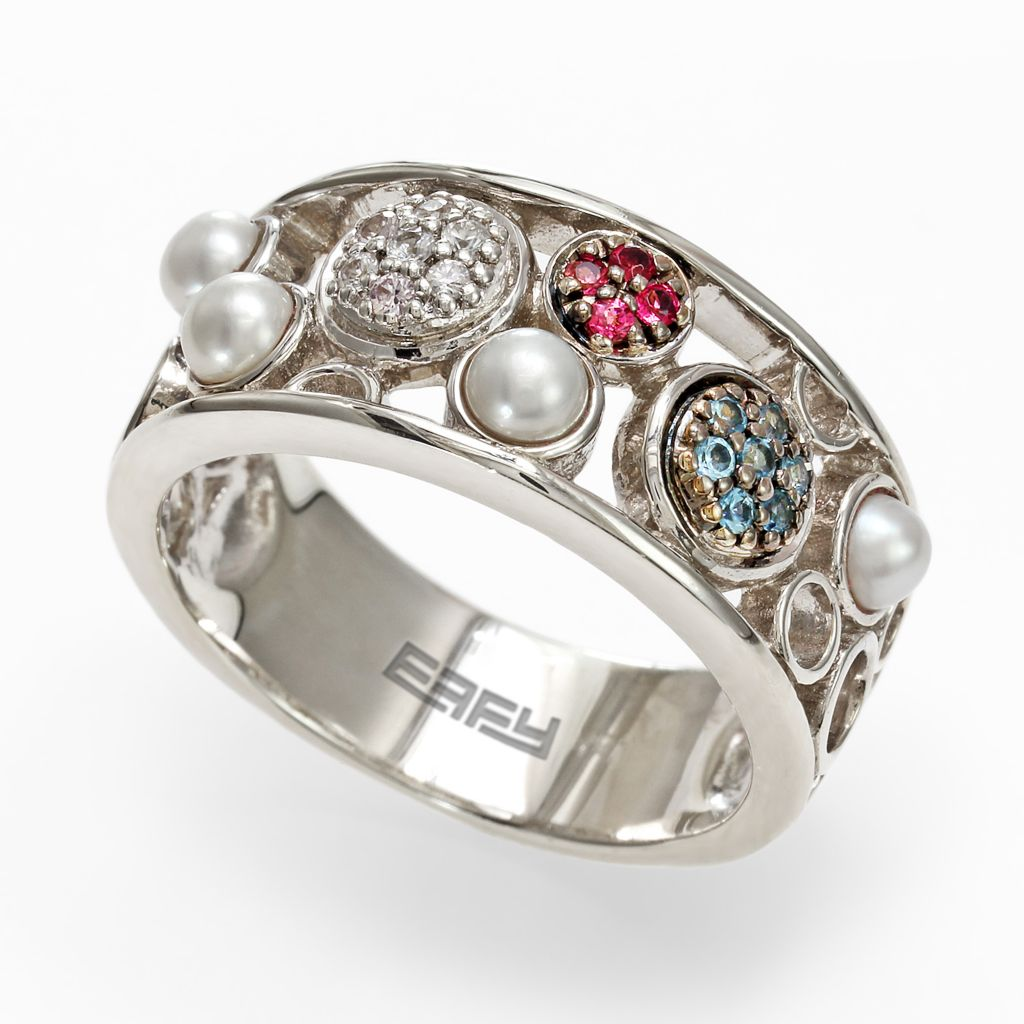 142-631 - Balissima By Effy Sterling Silver Multi Gemstone Ring - Size 7