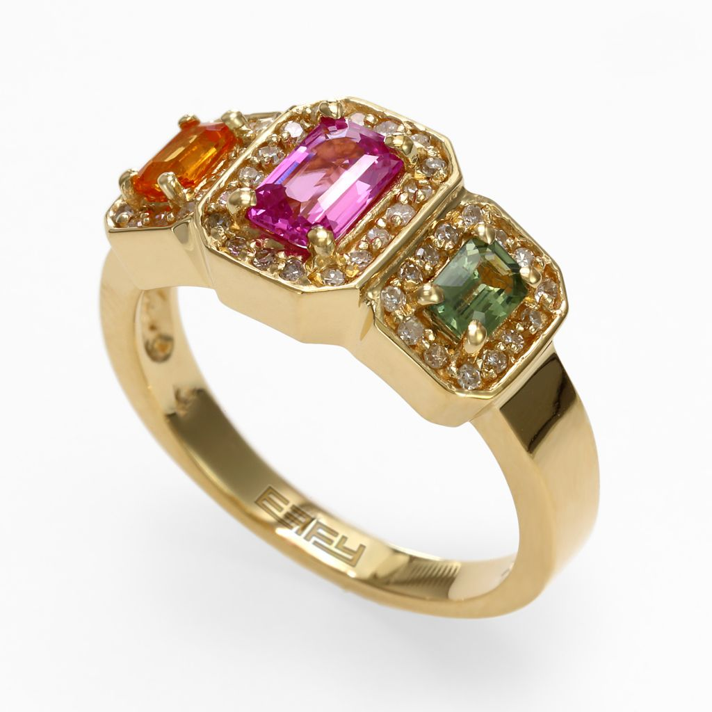 142-633 - Effy 14K Yellow Gold 1.35ctw Diamond & Multi Colored Sapphire Ring - Size 7