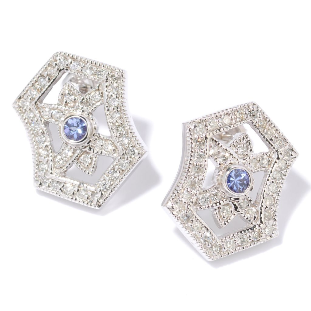 142-634 - Effy 14K White Gold 0.85ctw Diamond & Tanzanite Earrings