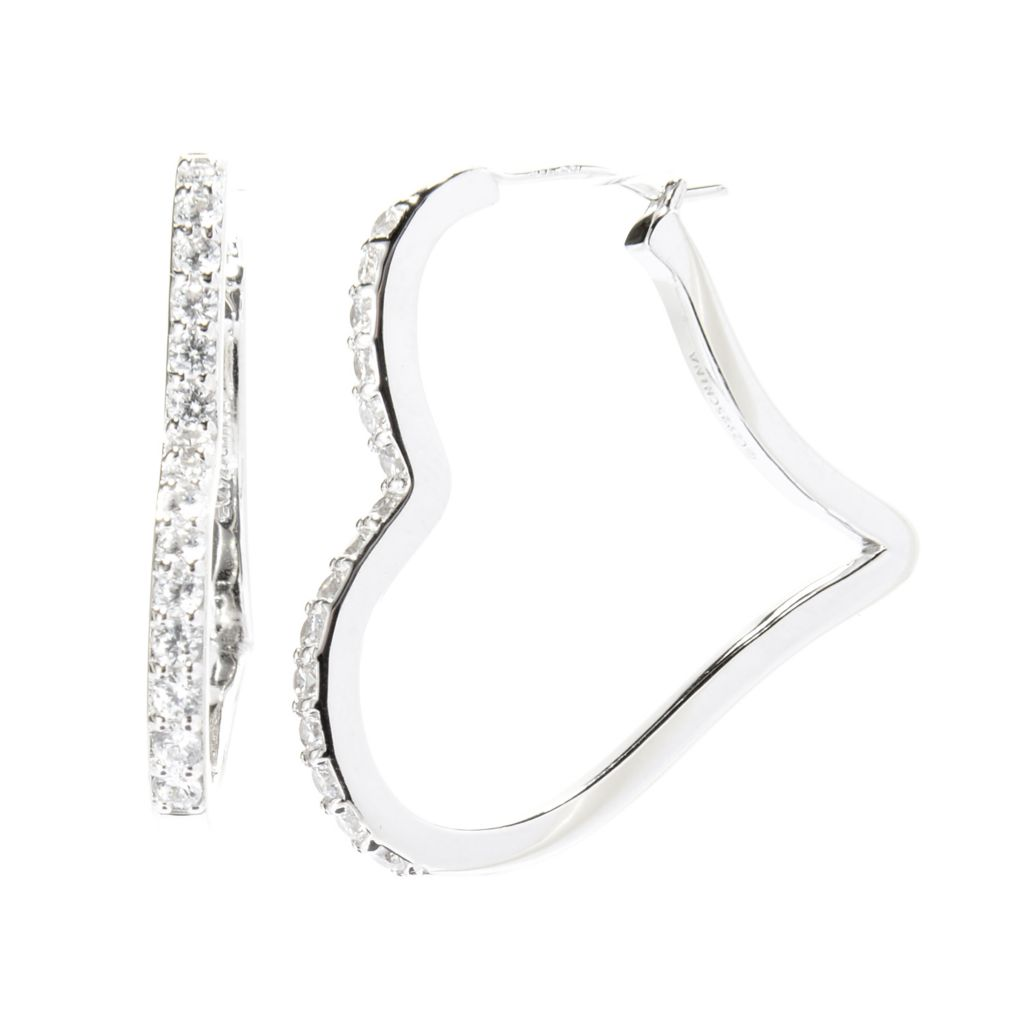 "142-635 - Brilliante® Platinum Embraced™ 1.25"" Simulated Diamond Heart Hoop Earrings"