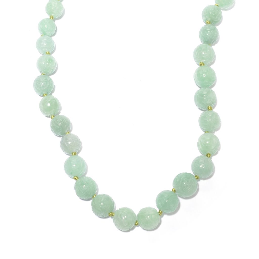 "142-641 - 20"" 8-13mm Round Carved Dyed Jade Graduated Bead Necklace"