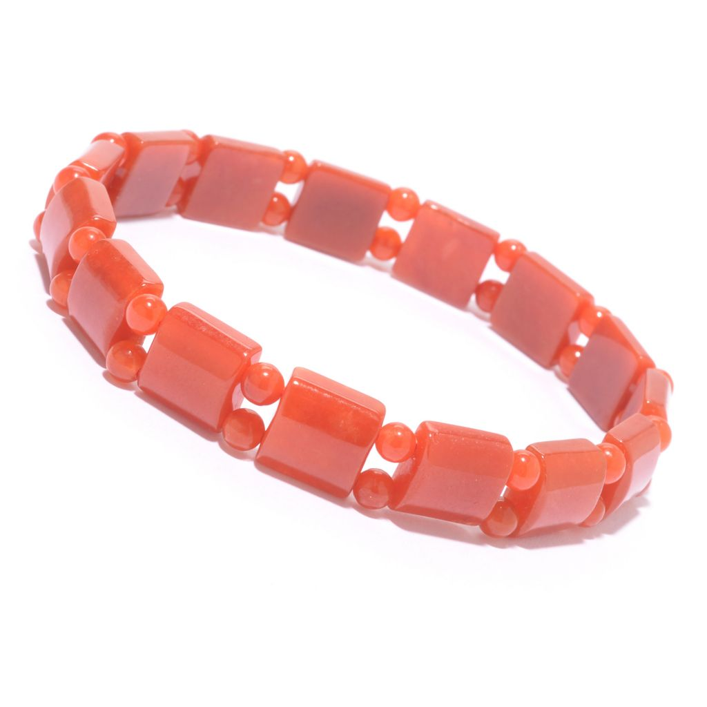 "142-642 - 7.75"" 4mm Round & 10mm Square Dyed Gemstone Bead Stretch Bracelet"