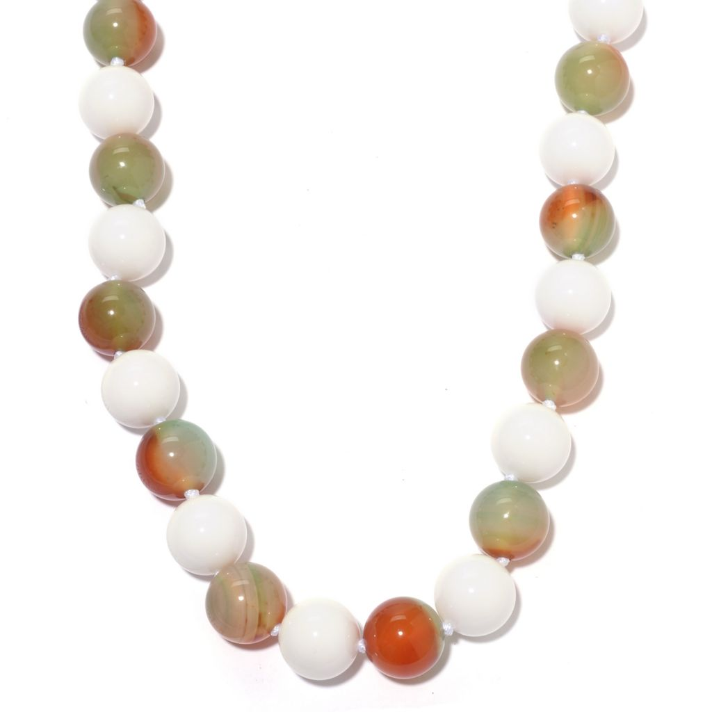 "142-643 - Sterling Silver 19"" 14mm Round Gemstone & White Agate Bead Necklace"