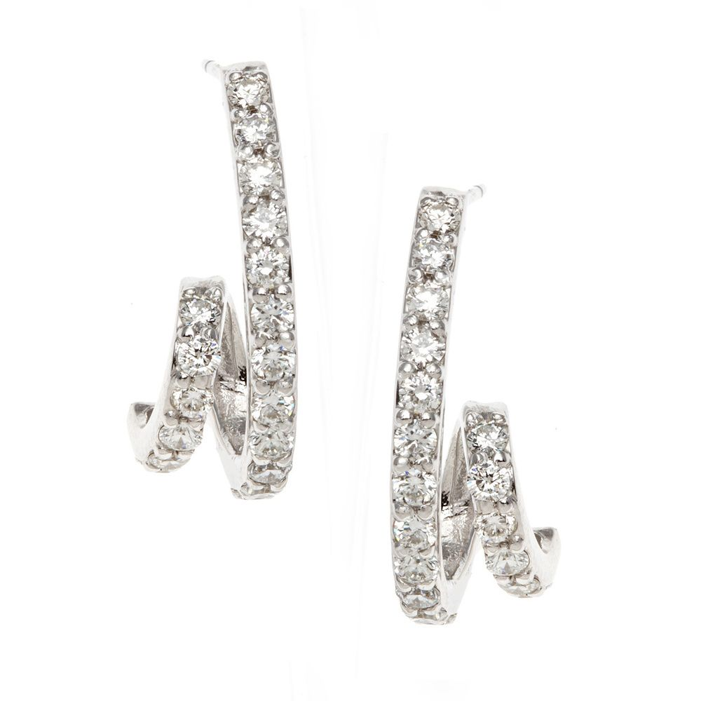 142-649 - SoHo Boutique 14K Gold 0.76ctw Diamond Swirl Earrings