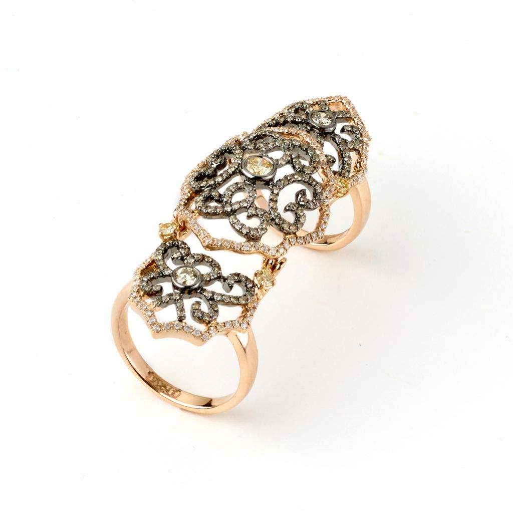 142-653 - SoHo Boutique 18K Rose Gold 1.59ctw Diamond Filigree Knuckle Ring - Size 7