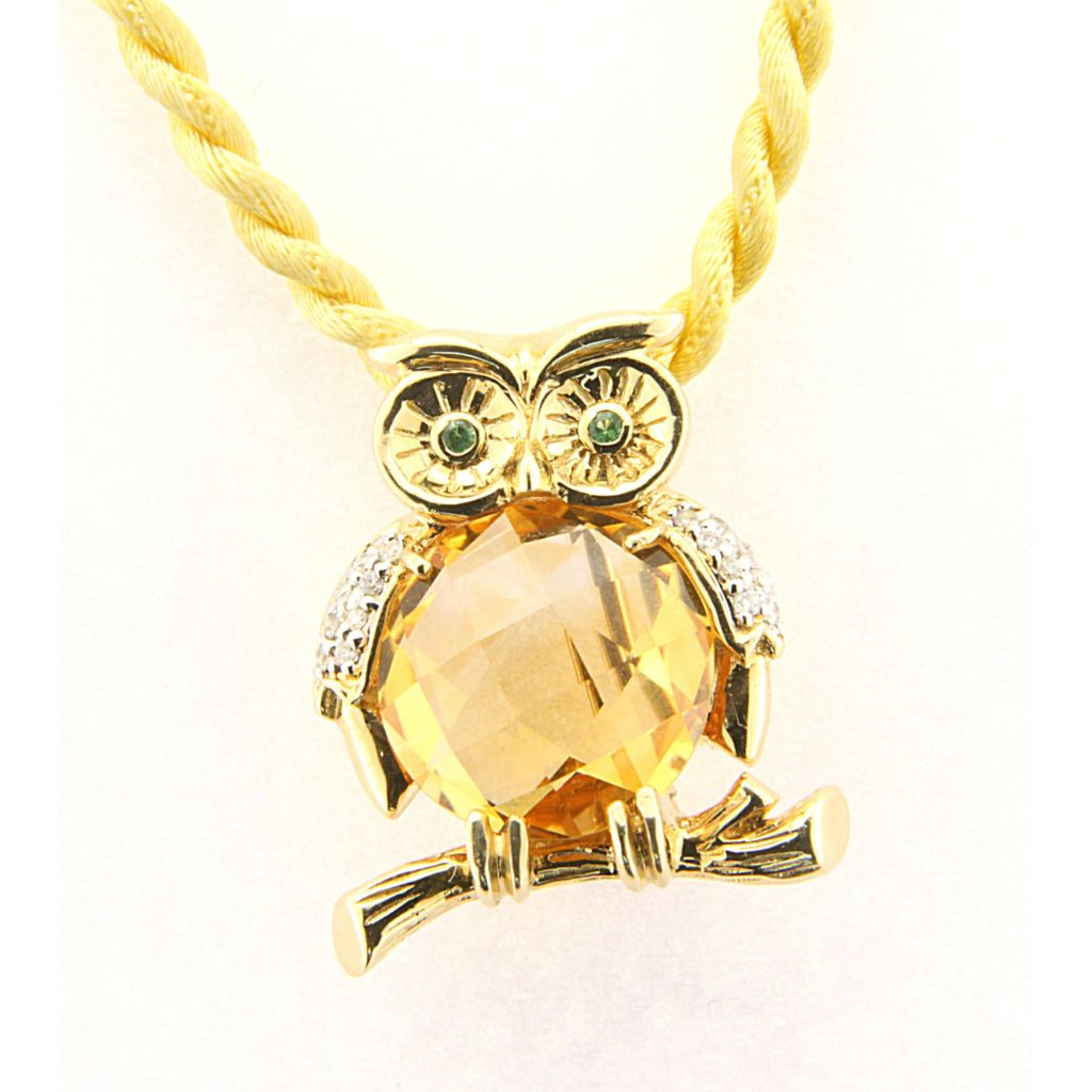 "142-654 - SoHo Boutique 14K Gold 4.98ctw Citrine, Diamond and Tsavorite ""Owl on a Branch"" Pin / Pendant"