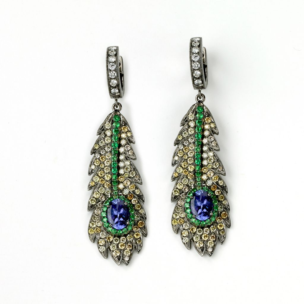 142-655 - SoHo Boutique 18K Rose Gold 3.92ctw Tanzanite, Tsavorite & Diamond Peacock Feather Earrings