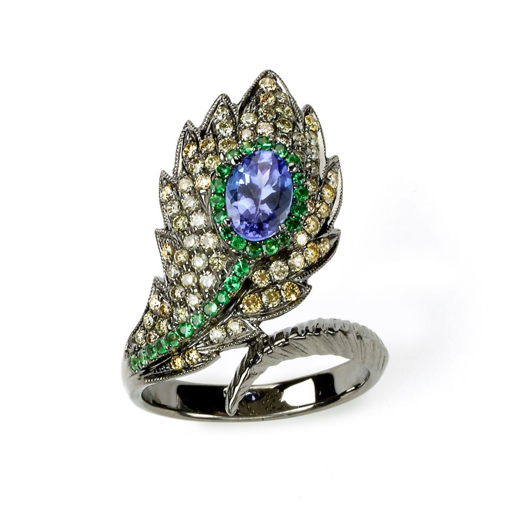 142-656 - SoHo Boutique 18K Rose Gold 1.68ctw Tanzanite, Tsavorite & Diamond Peacock Feather Ring - Size 7